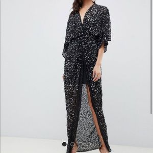 ASOS Design sequin knot front kimono maxi dress